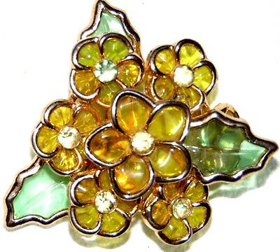 Vintage Stunning Gold Tone Pretty Flowers Pin Brooch~ Signed: Coro
