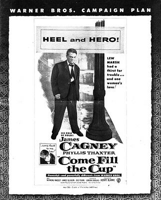 COME FILL THE CUP pressbook, James Cagney, Phyllis Thaxter, Gig Young