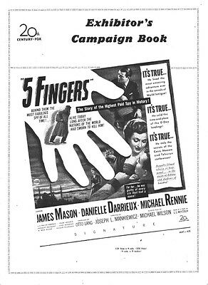 5 FINGERS pressbook, James Mason, Danielle Darrieux, Micharl Rennie