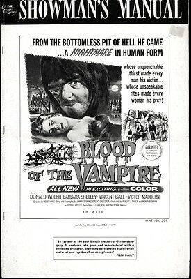 BLOOD OF THE VAMPIRE pressbook, Horror, Donald Wolfit, Barbara Shelley