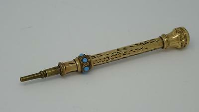 Antique English Victorian 9ct Gold Miniature Propelling cm Pencil Seal Top