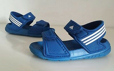 Little Boys Adidas Akwah Beach Pool Sandals Size 5 infant, Blue, Good Condition.