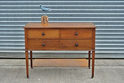 Antique Hall Console Table with Drawers Mahogany On Caster Wheels.