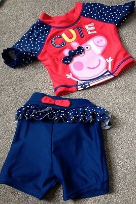 Mothercare Pepper Pig Baby Girl Two Piece Swim Suit 3-6 Months