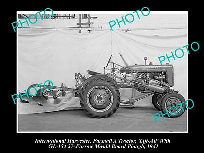 Old Historic Photo Of International Harvester & Farmall A Tractor Gl-154 Furrow