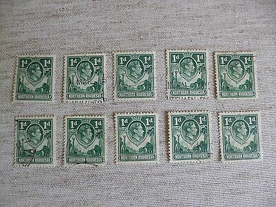NORTHERN RHODESIA. 1938-1952  10 USED STAMPS OF 1d GREEN DEFINITIVE  AS SHOWN