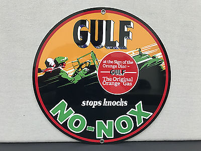 Gulf no nox or gasoline Oil RARE vintage round metal  sign reproduction