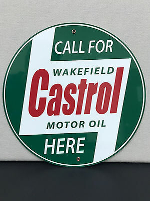 Castrol Oil gasoline garage man cave racing vintage round sign