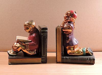 Rare Ronson Gilded Polychrome Bronze Oriental Chinese Bookends 1935 Art Deco Big