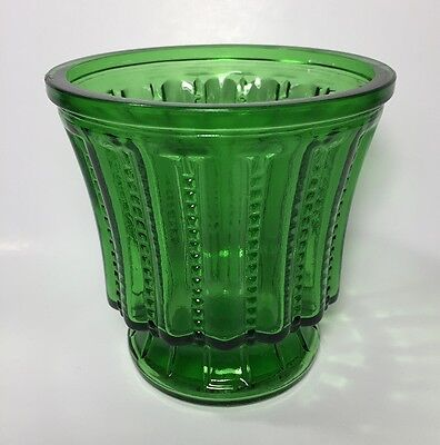 Hoosier Green Glass Zipper Pattern Vase Pot
