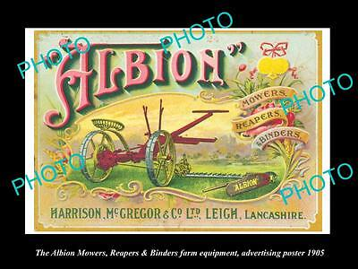 OLD LARGE HISTORIC PHOTO OF THE ALBION FARMING MOWER ADVERTISING POSTER c1905