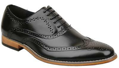 Mens Black Brogue Lace Up Leather Lined Formal Fashion Shoes Size 10