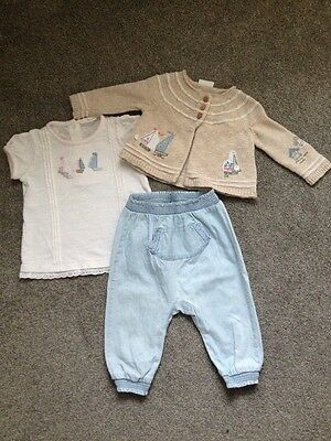 Complete Baby Girl Next Nautical Boats Outfit 6-9 Months Top Cardigan Trousers