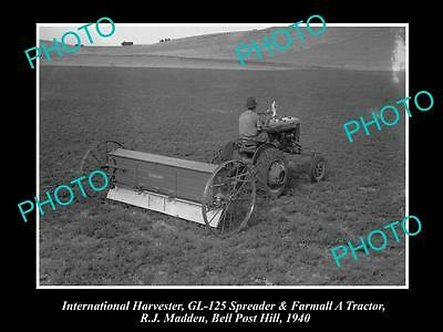 Old Historic Photo Of International Harvester Gl-125 Spreader Farmall A Tractor