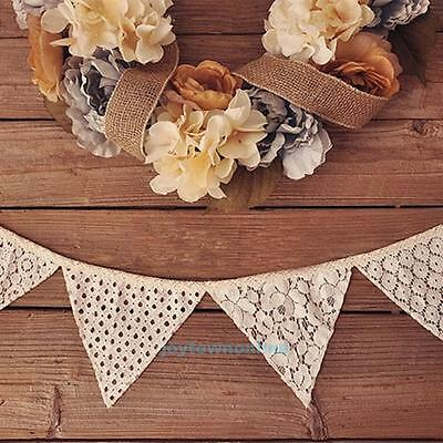 2.5M Vintage White Lace Flag Cotton Banner Bunting Wedding Birthday Party Decor
