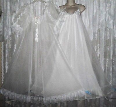 VTG FRILLY TOSCA Bridal WHITE Sheer CHIFFON Peignoir Robe Nightgown Gown M L XL