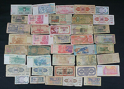 Vintage lot of 40 CIRCULATED BANKNOTES -- Various countries LOT B