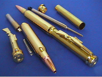 Woodturning Pen Kits - BULLET TWIST Pen- Gold/copper tip & Chrome/copper tip