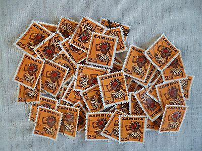 ZAMBIA.50 USED STAMPS ALL THE SAME 2d VALUE SHOWING A CHINYAU DANCER