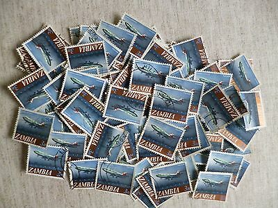 Zambia.100 Used Stamps All The Same 3N Value -Zambian Airways Vickers Vc 10 Jet