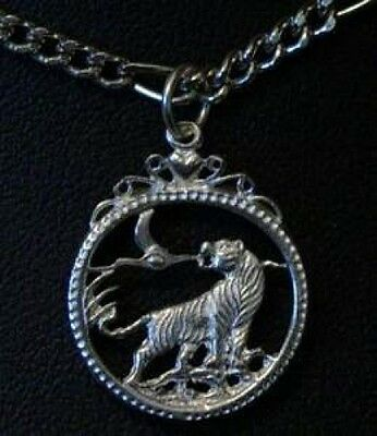 LOOK Celtic Tiger Pendant Charm Silver Gothic Jewelry