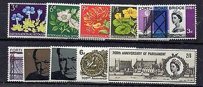GB 1964 Botanical to 1965 700th Anniversary commemorative sets complete MNH