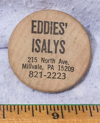 Vintage Wooden Nickel Eddie's Isalys Millvale Pittsburgh Pennsylvania mv