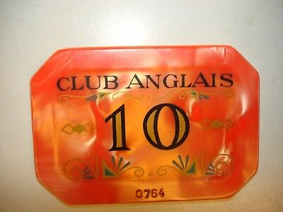 Club Anglais Rare Casino Plaque Chip !