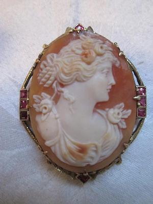 FINE Antique Cameo Pendant Brooch 14K Solid GOLD with Jewels Large Size Signed