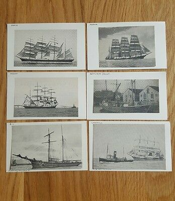 6 Pictures of Sailing Ships Mounted on Index Cards
