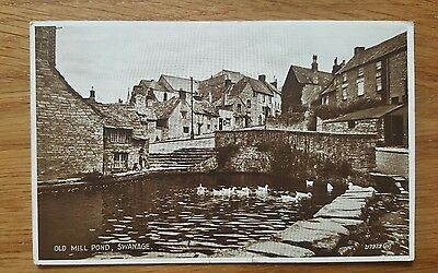 1934 Postcard the Old Mill Pond Swanage Dorset