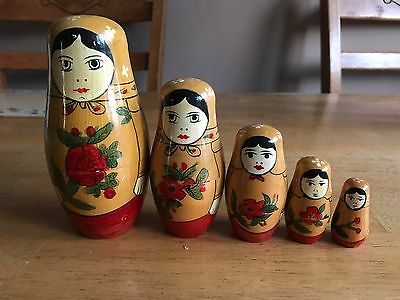 Traditional Semenov  5 Piece Set Russian Nesting Doll