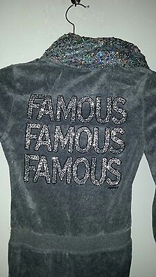 Justice Girls Gray FAMOUS Glitter Sequin Hooded One-Piece Jumpsuit size 7 Romper