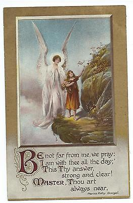"""ANGEL & YOUNG GIRL - """"BE NOT FAR FROM ME""""  1910 Greetings Postcard"""