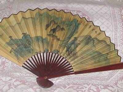 Large Vintage Japanese Painted Face Fan Signed