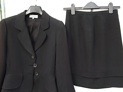 WOMAN'S GEORGES RECH Designer Paris Suit Jacket Skirt Black 36/8 VGC Formal Work