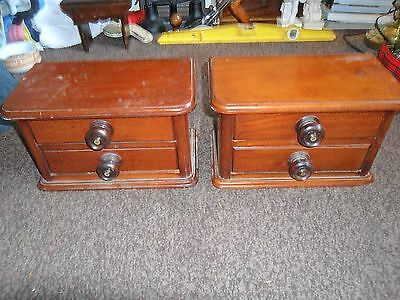 2 antique small sets of mahogany chest of drawers