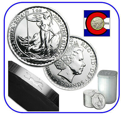 2014 Silver Britannia UK 1 oz £2 -- Roll/Tube of 20 Coins -- with Horse Privy
