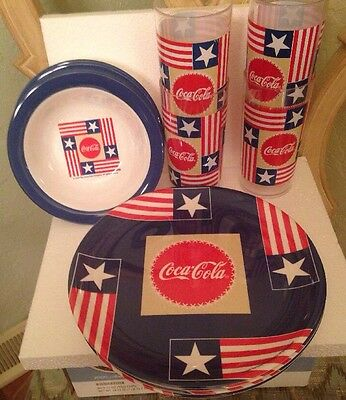 """New Coca-Cola Dinnerware 2000 Gibson 4 Cups 4 Bowls 4 Plates  """"Free Shipping"""""""