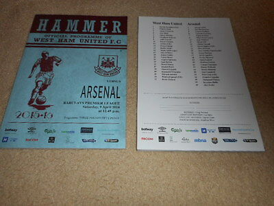 PROGRAMME WEST HAM UNITED v ARSENAL 09.4.16 MINT! Last Season at Boleyn Ground