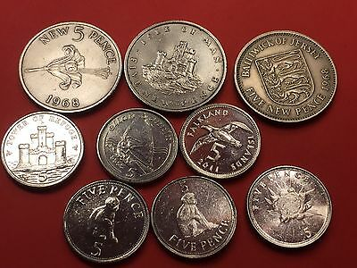 Rare five pence coins. Nine different coins. Gibraltar, Falkland and Isle of Man