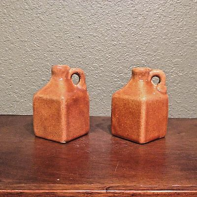 Origninal (Pair) UHL Pottery Miniature Golden Brown Square Jugs
