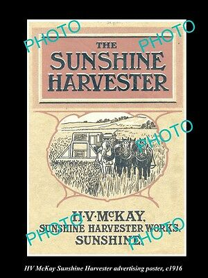 OLD LARGE HISTORIC PHOTO OF HV McKAY SUNSHINE HARVESTER ADVERTISING POSTER c1916