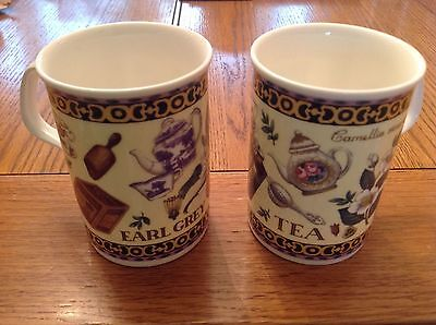 Roy Kirkham Fine Bone China Mugs x2 (Tea & Earl Grey) 1998