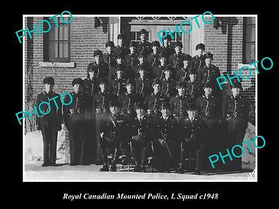 OLD LARGE HISTORIC PHOTO OF ROYAL CANADIAN MOUNTED POLICE, L SQUAD c1948