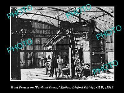 OLD LARGE HISTORIC PHOTO OF ISISFORD QLD, WOOL PRESSES AT PORTLAND DOWNS c1915