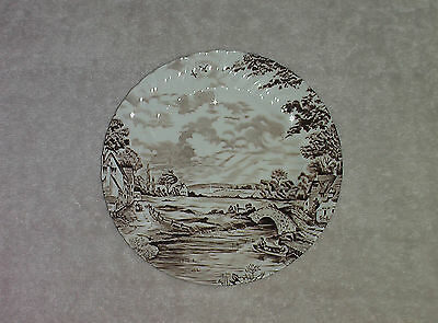 """HAVE 2 Staffordshire Ridgeway Plate Country Days Brown 6.5"""" Fluted  England"""