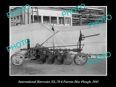 Old Historic Photo Of International Harvester Gl-70 4 Furrow Disc Plough 1941