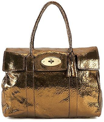 MULBERRY Authentic Gold Cracked Metallic Leather Bayswater Shoulder Bag