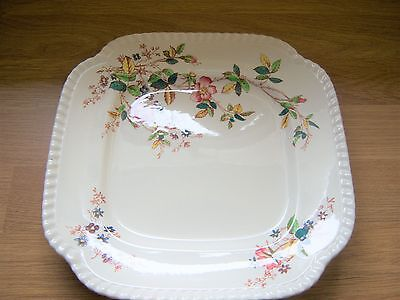 Antique Square Plate By Copeland Spode With Leafy Blossom Pattern